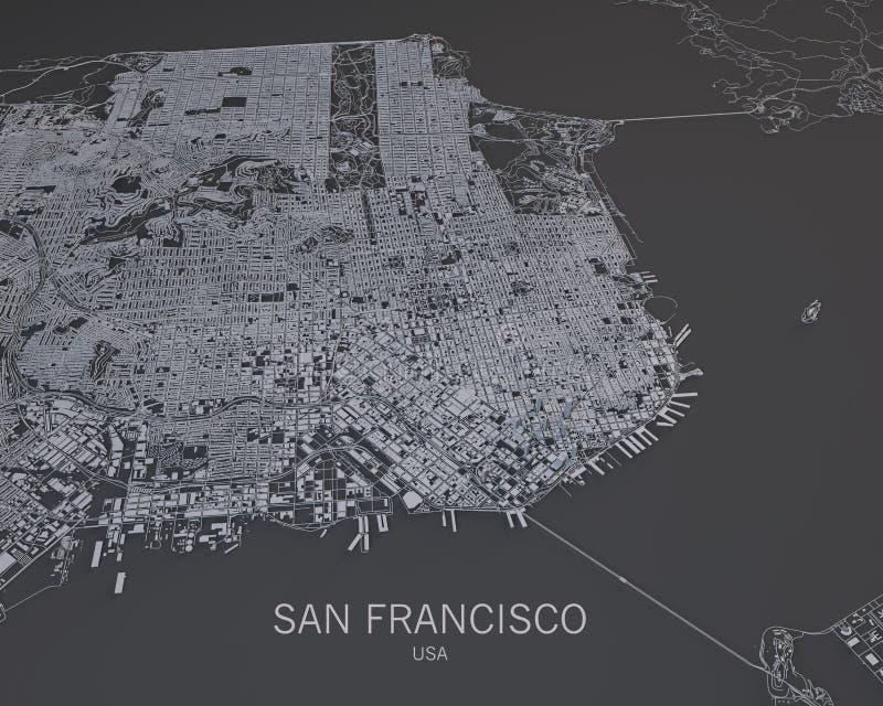 Mappa di San Francisco, vista satellite, mappa nella negazione, S.U.A., California illustrazione vettoriale