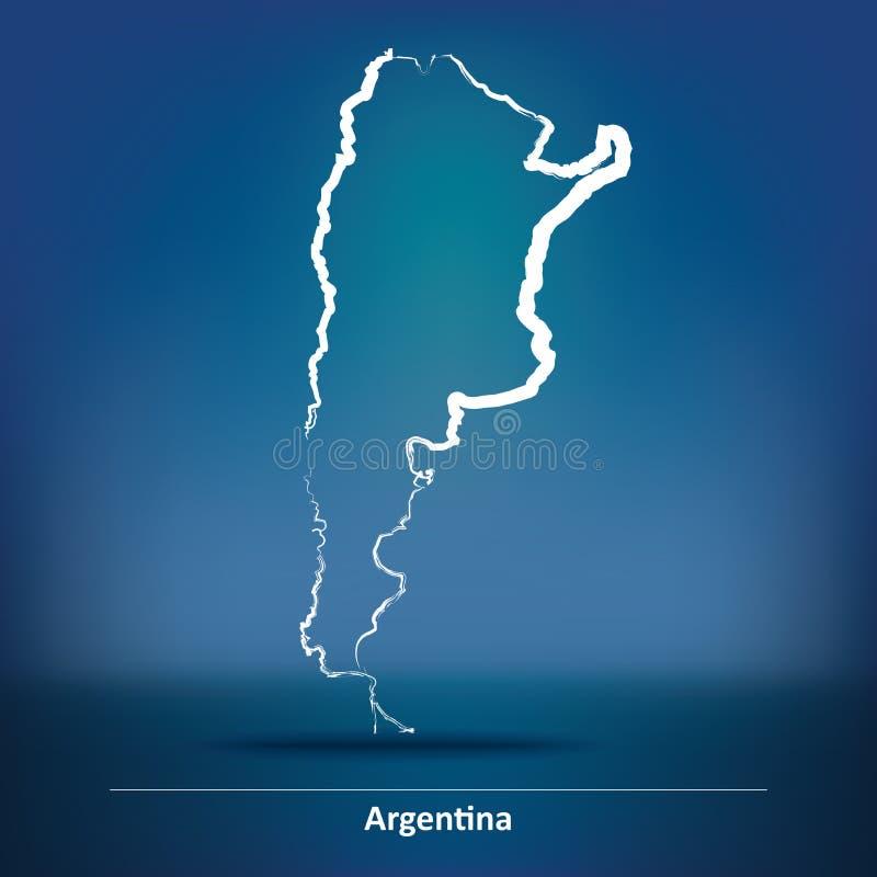 Mappa di scarabocchio dell'Argentina illustrazione di stock
