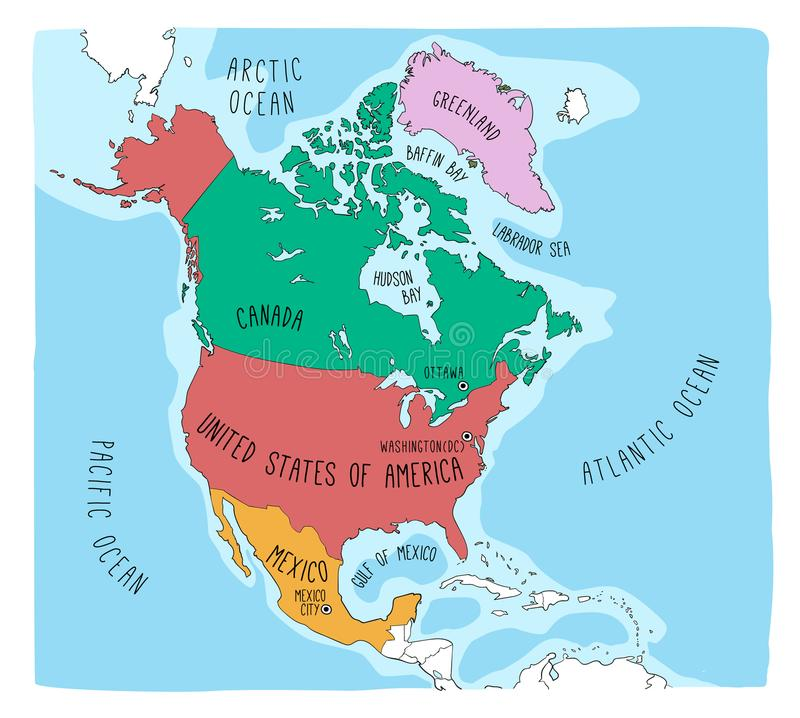 Mappa di scarabocchio di Nord America fotografia stock