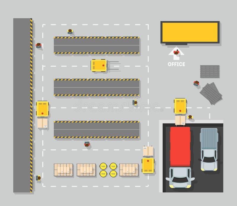 Mappa di schema di vista superiore del magazzino Vettore royalty illustrazione gratis