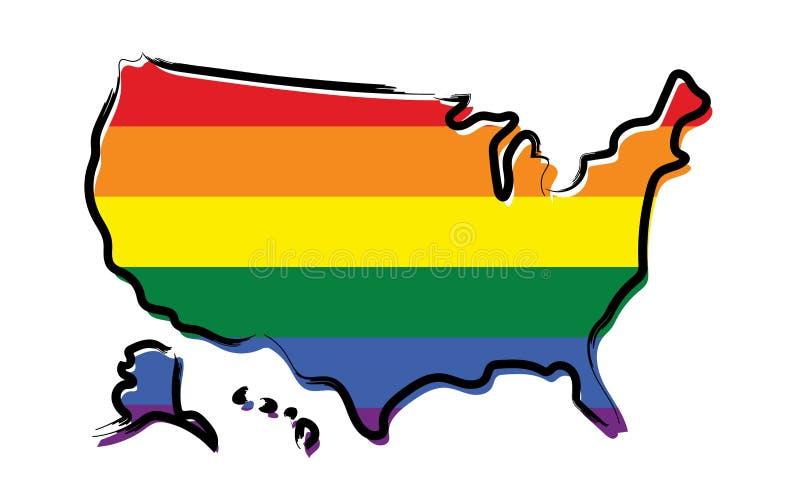 Mappa di schizzo di U.S.A. con i colori di orgoglio illustrazione vettoriale