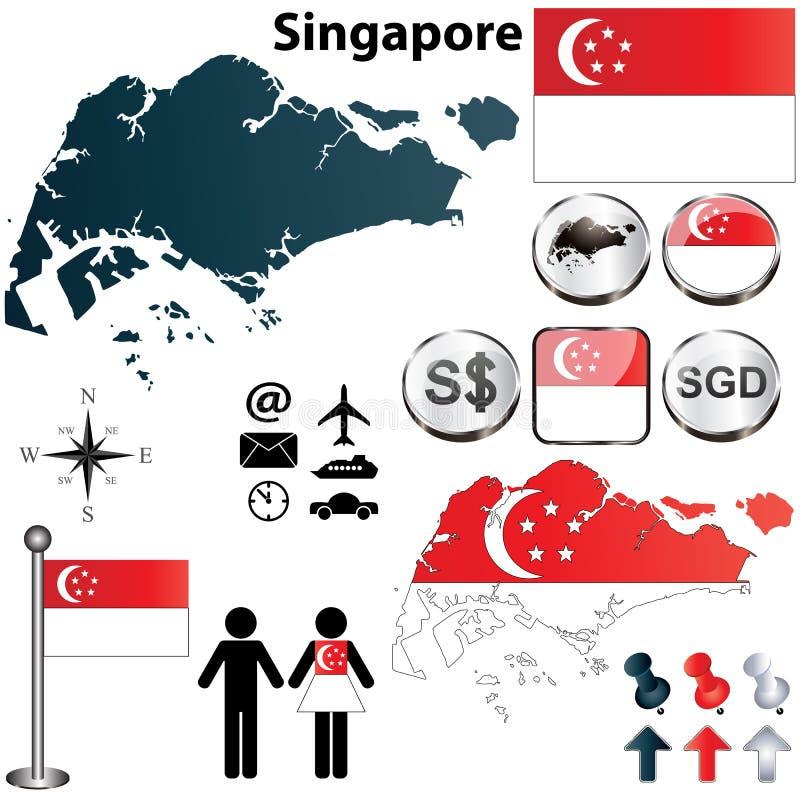 Mappa di Singapore illustrazione di stock