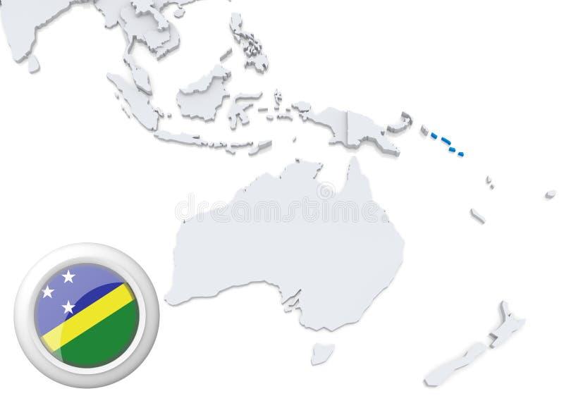 Mappa di Solomon Islands con la bandiera nazionale illustrazione di stock