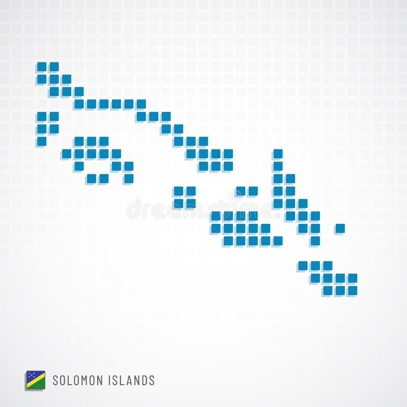 Mappa di Solomon Islands ed icona della bandiera illustrazione di stock