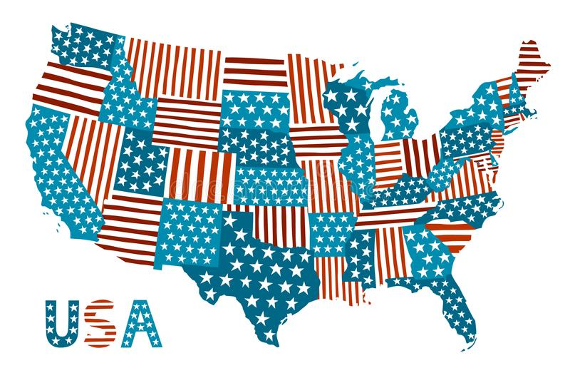 Mappa di stile della rappezzatura degli Stati Uniti illustrazione di stock