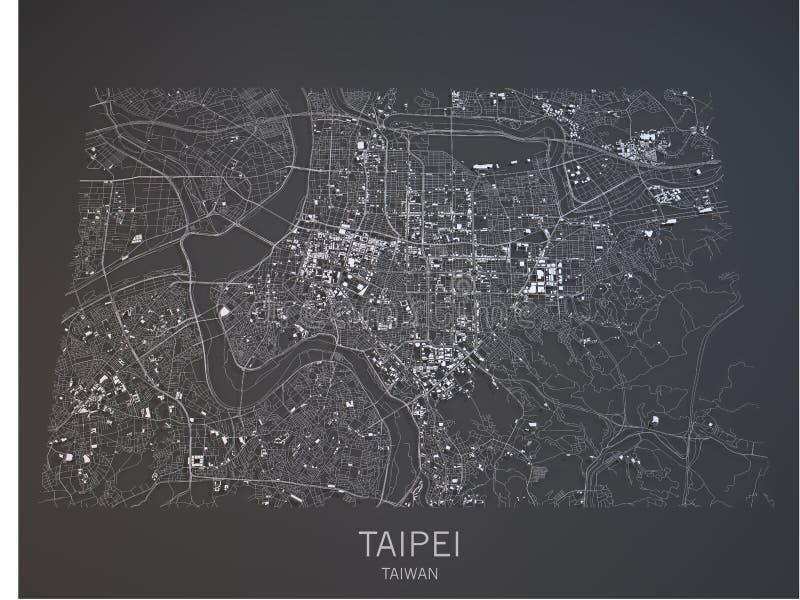 Mappa di Taipei, vista satellite, Taiwan, 3d royalty illustrazione gratis