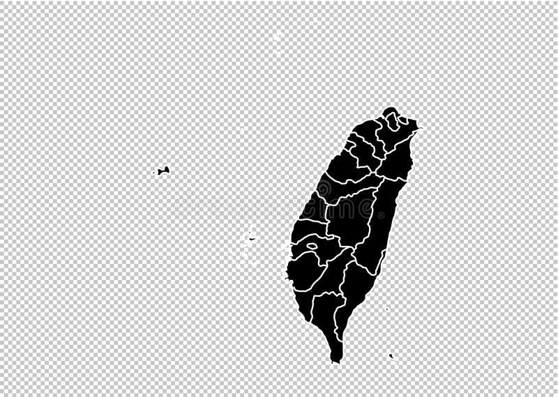 Mappa di Taiwan - mappa nera dettagliata di livello con le contee/regioni/stati di Taiwan mappa di Taiwan isolata su fondo traspa illustrazione di stock
