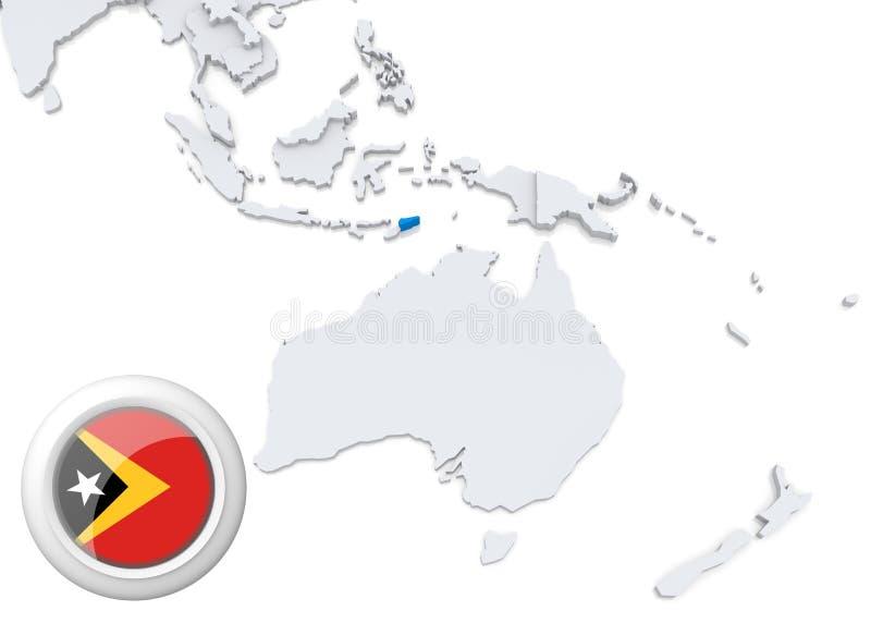 Mappa di Timor con la bandiera nazionale illustrazione di stock