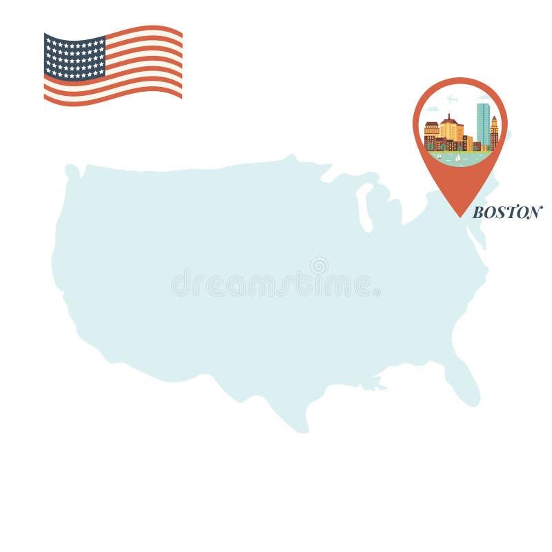 Mappa di U.S.A. con Boston Pin Travel Concept illustrazione vettoriale