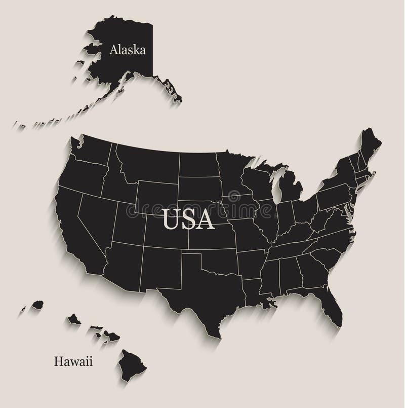 Mappa di U.S.A. con gli stati separati della lavagna nera delle Hawai e dell'Alaska singoli illustrazione di stock