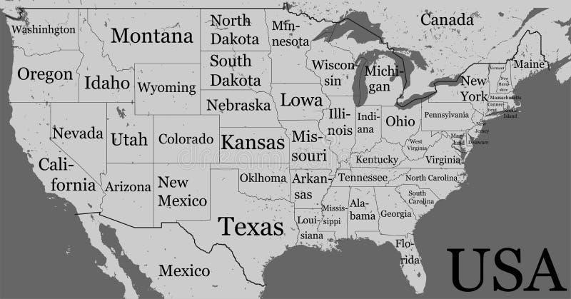 Mappa di U.S.A. con i confini di stato ed i nomi Iso nero in bianco di contorno illustrazione vettoriale