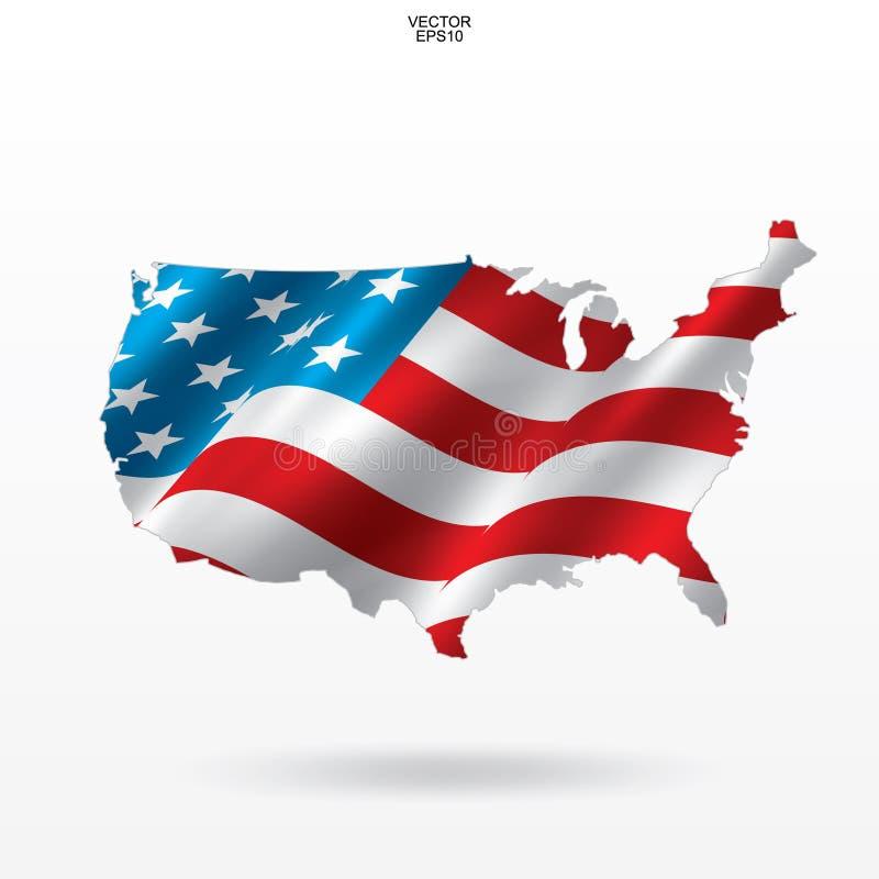 Mappa di U.S.A. con il modello e l'ondeggiamento della bandiera americana Profilo della mappa del ` degli Stati Uniti d'America d royalty illustrazione gratis