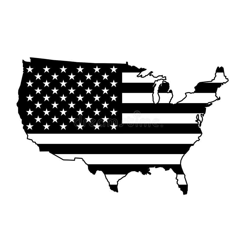Mappa di U.S.A. con la bandiera nera royalty illustrazione gratis