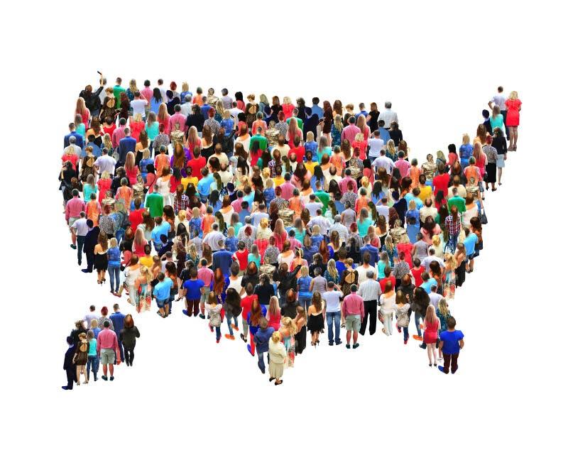 Mappa di U.S.A. con la gente isolata fotografie stock libere da diritti
