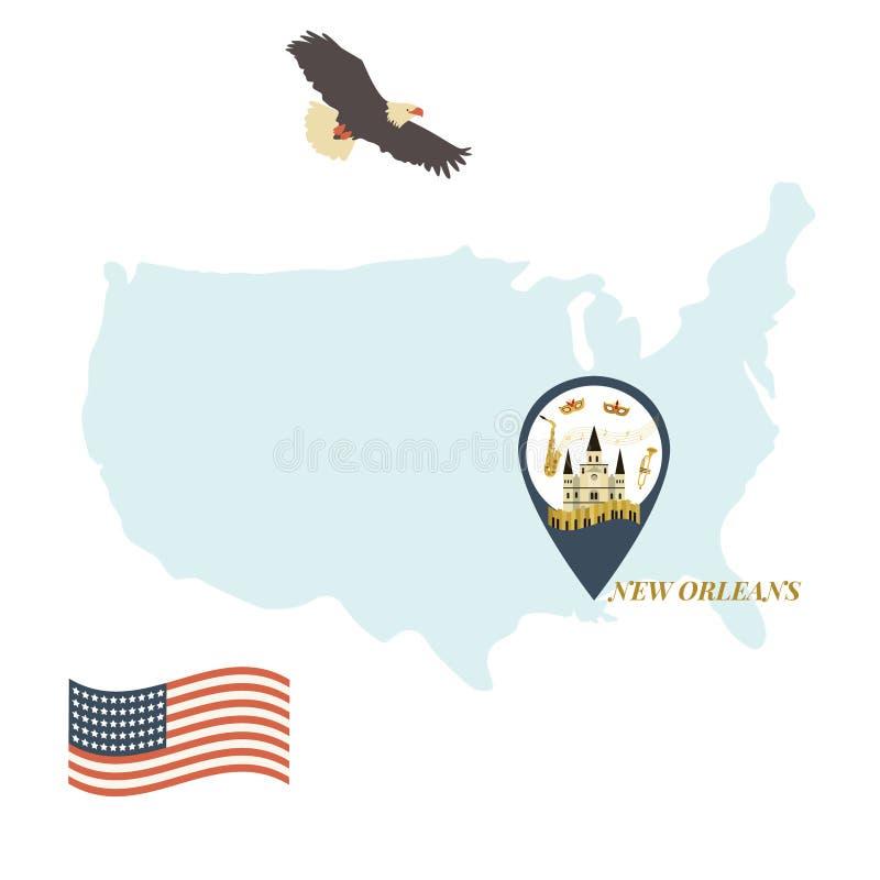 Mappa di U.S.A. con New Orleans Pin Travel Concept royalty illustrazione gratis