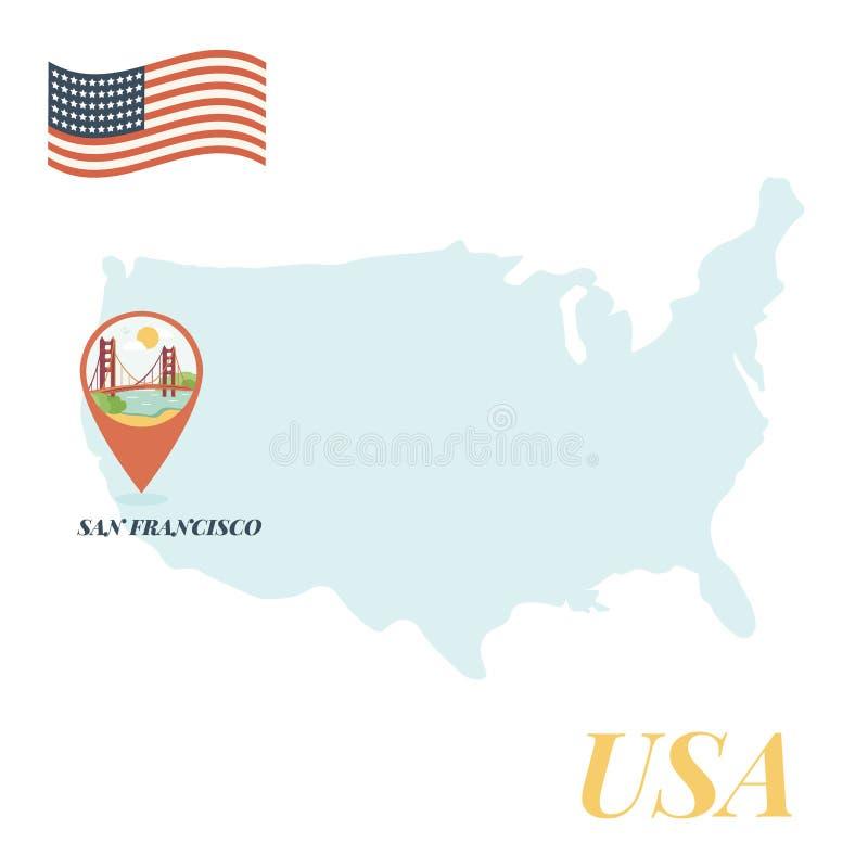Mappa di U.S.A. con San Francisco Pin Travel Concept illustrazione di stock