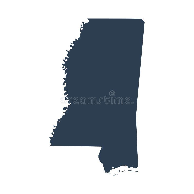 Mappa di U S stato Mississippi royalty illustrazione gratis