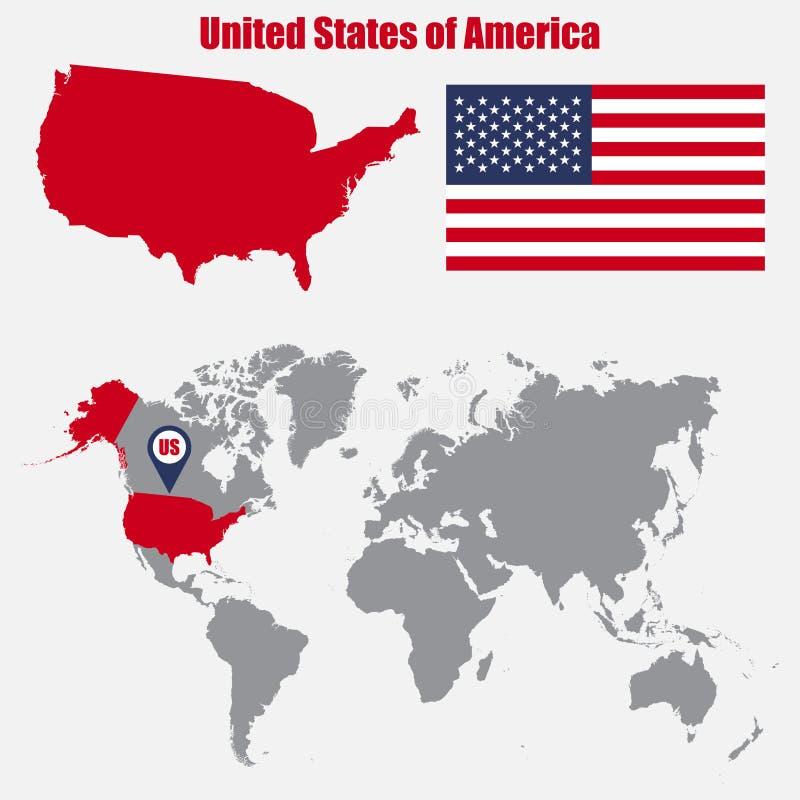 Mappa di U.S.A. su una mappa di mondo con il puntatore della mappa e della bandiera Illustrazione di vettore royalty illustrazione gratis
