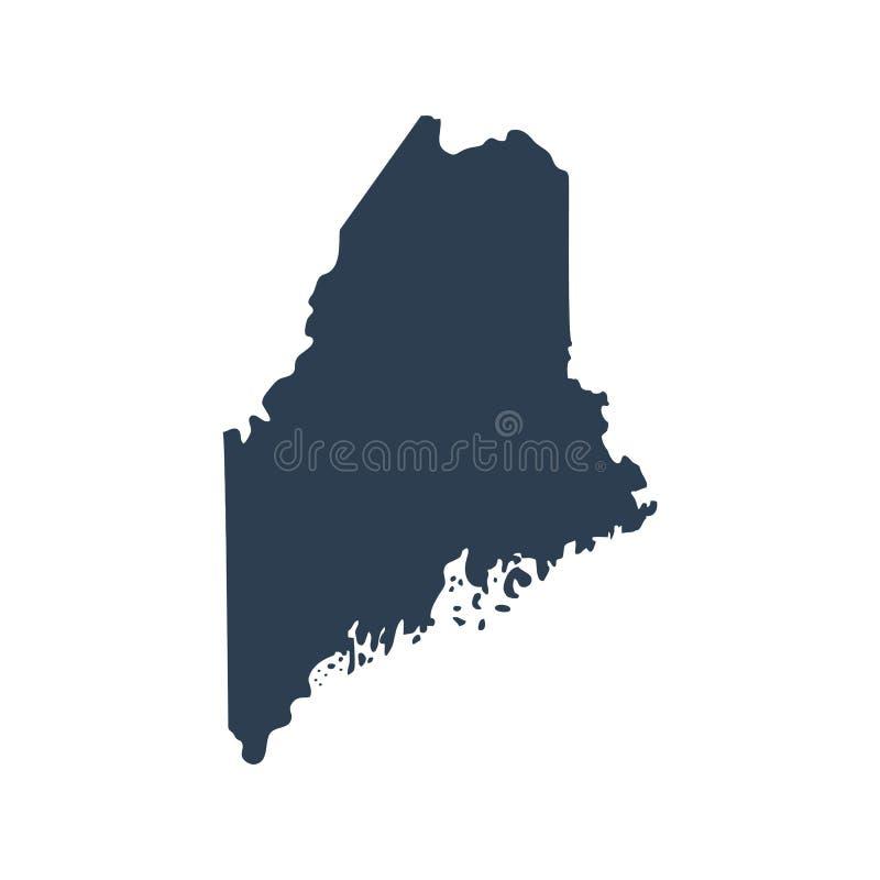 Mappa di U S vettore di Maine dello stato illustrazione di stock