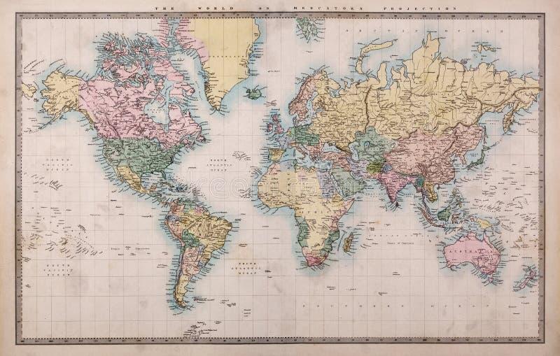 Mappa di vecchio mondo sulla proiezione di Mercators fotografie stock libere da diritti