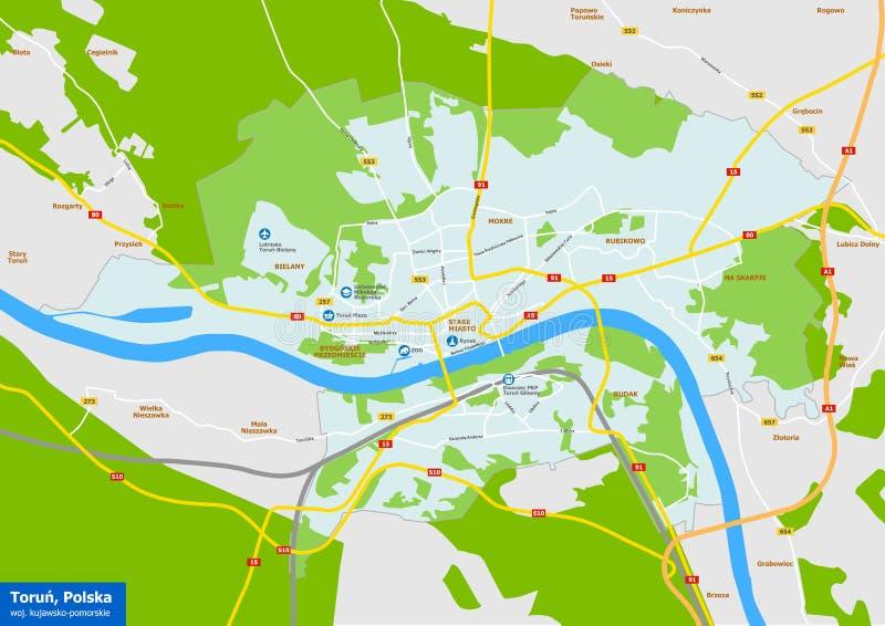 Mappa di Vecor della città di Torum - Polonia - provincia del kujawsko-pomorskie - etichette della lucidatura fotografia stock libera da diritti