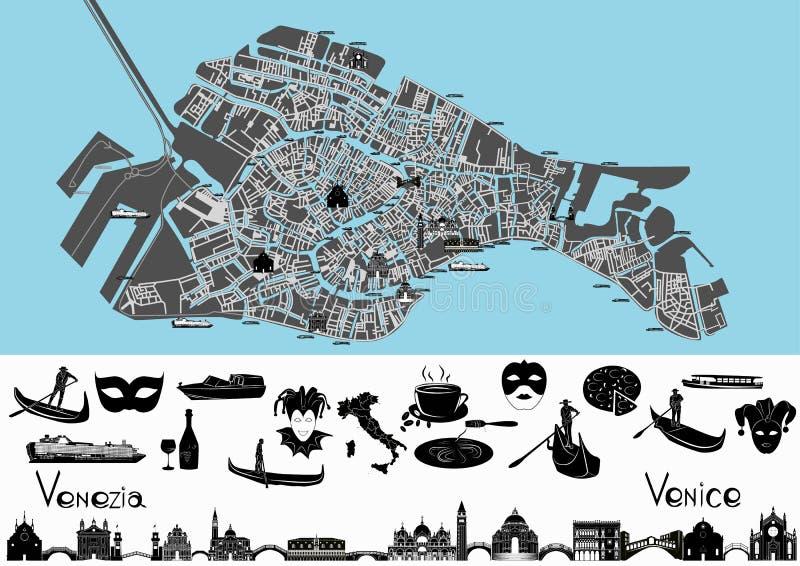 Mappa di Venezia con i simboli ed i punti di riferimento illustrazione vettoriale