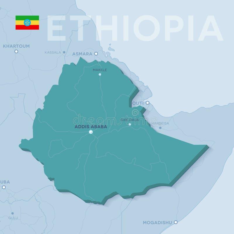 Mappa di Verctor delle città e delle strade in Etiopia immagini stock libere da diritti