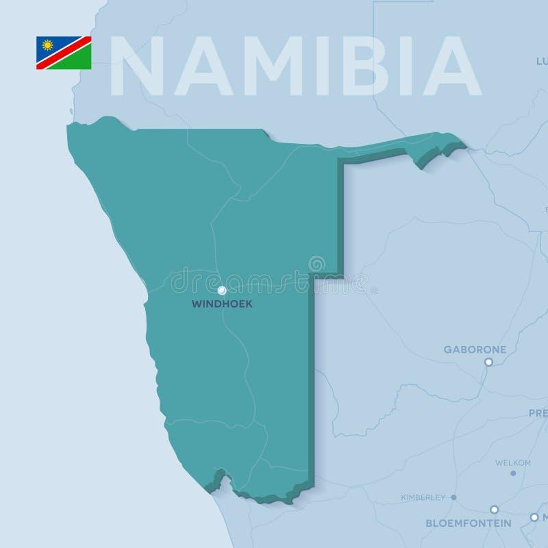 Mappa di Verctor delle città e delle strade in Namibia fotografia stock
