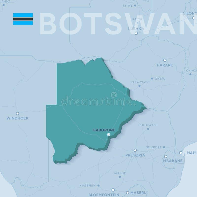Mappa di Verctor delle città e delle strade nel Botswana immagine stock