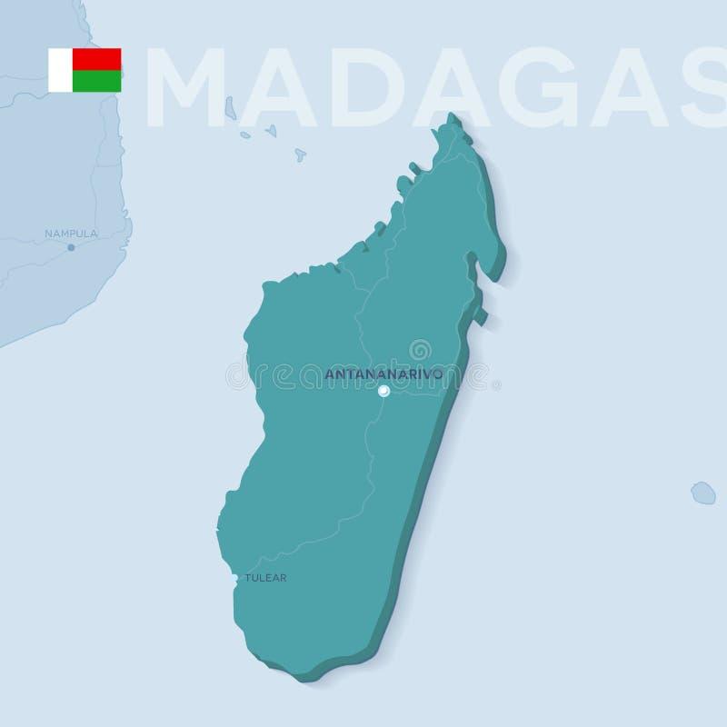 Mappa di Verctor delle città e delle strade nel Madagascar fotografie stock