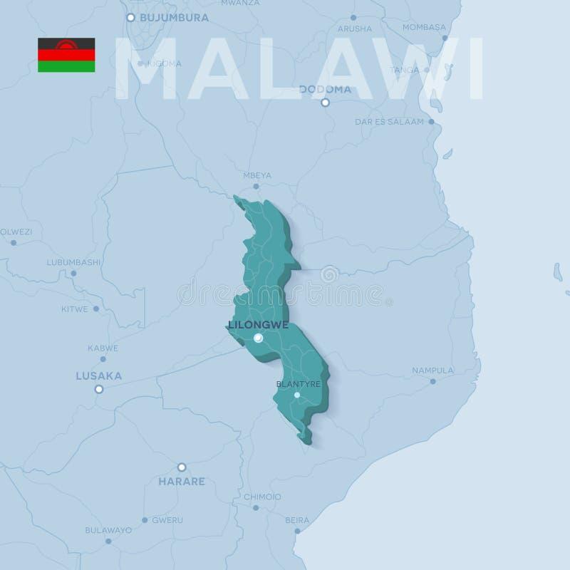 Mappa di Verctor delle città e delle strade nel Malawi fotografia stock