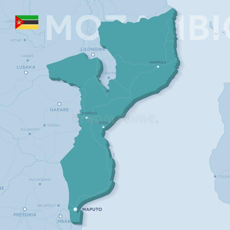 Mappa di Verctor delle città e delle strade nel Mozambico fotografia stock libera da diritti