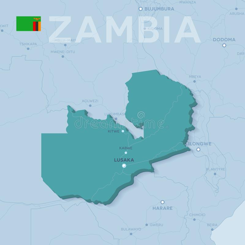 Mappa di Verctor delle città e delle strade nello Zambia fotografia stock libera da diritti