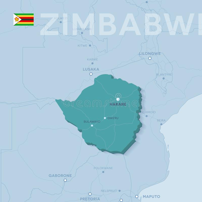Mappa di Verctor delle città e delle strade nello Zimbabwe immagine stock