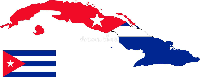 Mappa di vettore di Cuba con la bandiera fondo isolato e bianco illustrazione di stock