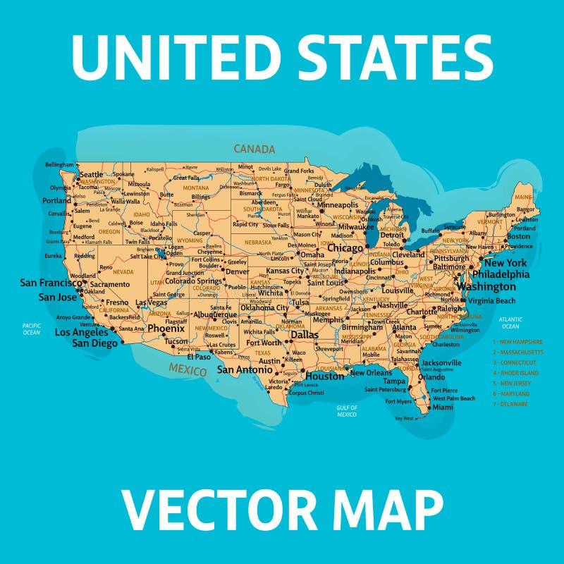 Mappa di vettore degli Stati Uniti Programma degli Stati Uniti d'America Alto detalization illustrazione vettoriale