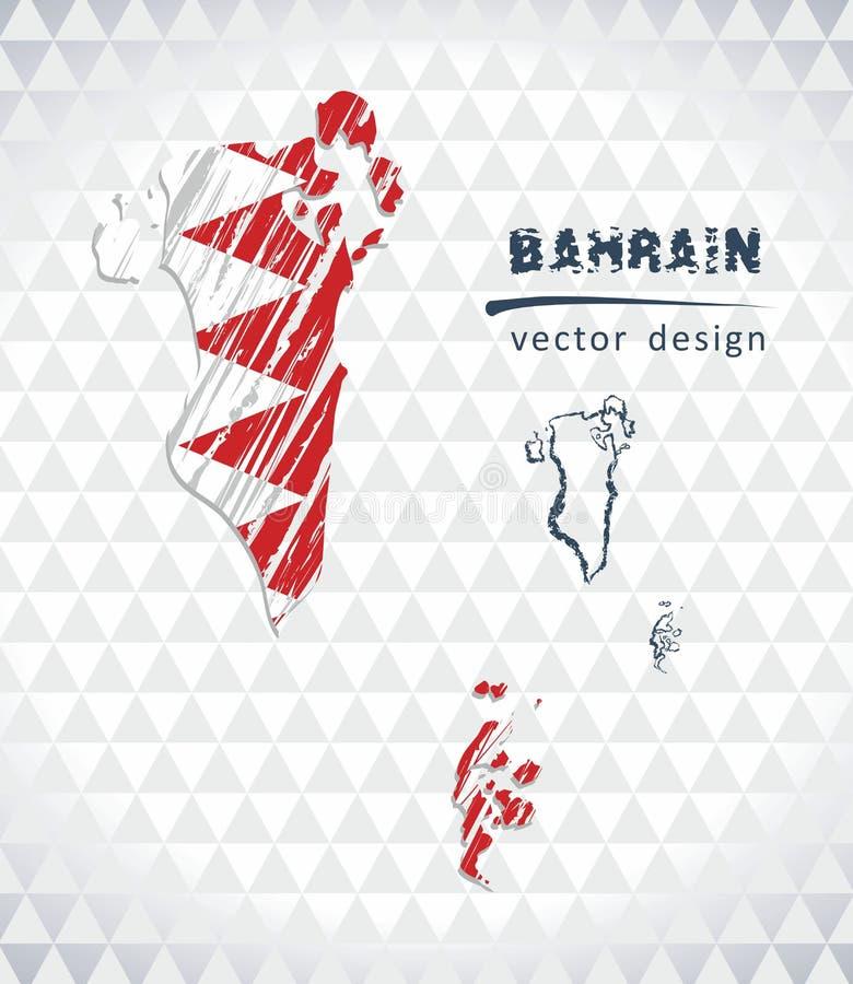 Mappa di vettore del Bahrain con l'interno della bandiera isolato su un fondo bianco Illustrazione disegnata a mano del gesso di  royalty illustrazione gratis