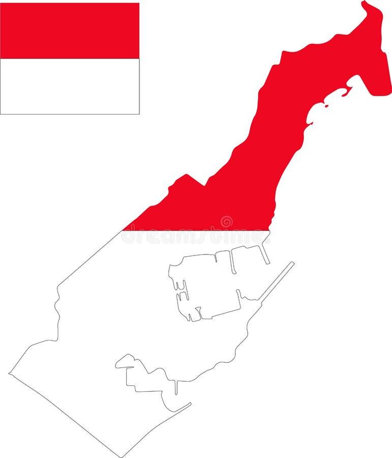 Mappa di vettore del Monaco con la bandiera fondo isolato e bianco royalty illustrazione gratis