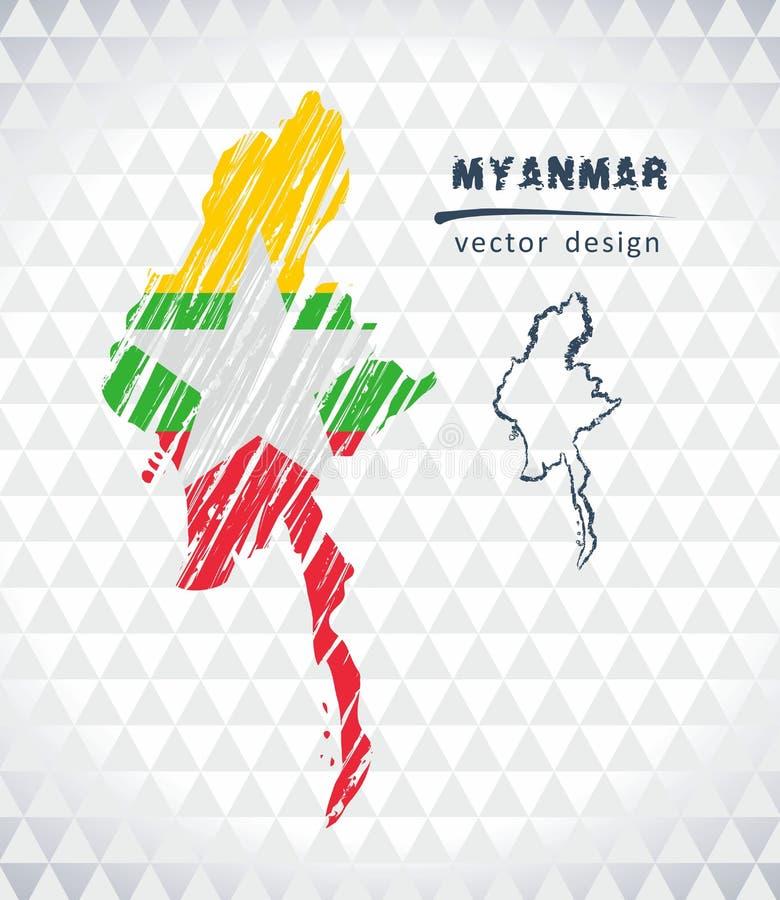 Mappa di vettore del Myanmar con l'interno della bandiera isolato su un fondo bianco Illustrazione disegnata a mano del gesso di  royalty illustrazione gratis