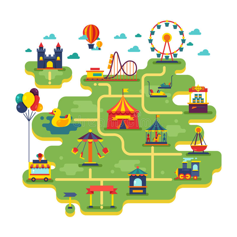 Mappa di vettore del parco di divertimenti di divertimento della famiglia Spettacolo nel fondo di vettore di vacanza illustrazione vettoriale