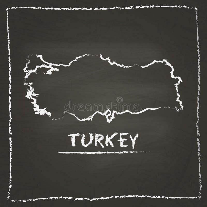 Mappa di vettore del profilo della Turchia disegnata a mano con gesso illustrazione di stock
