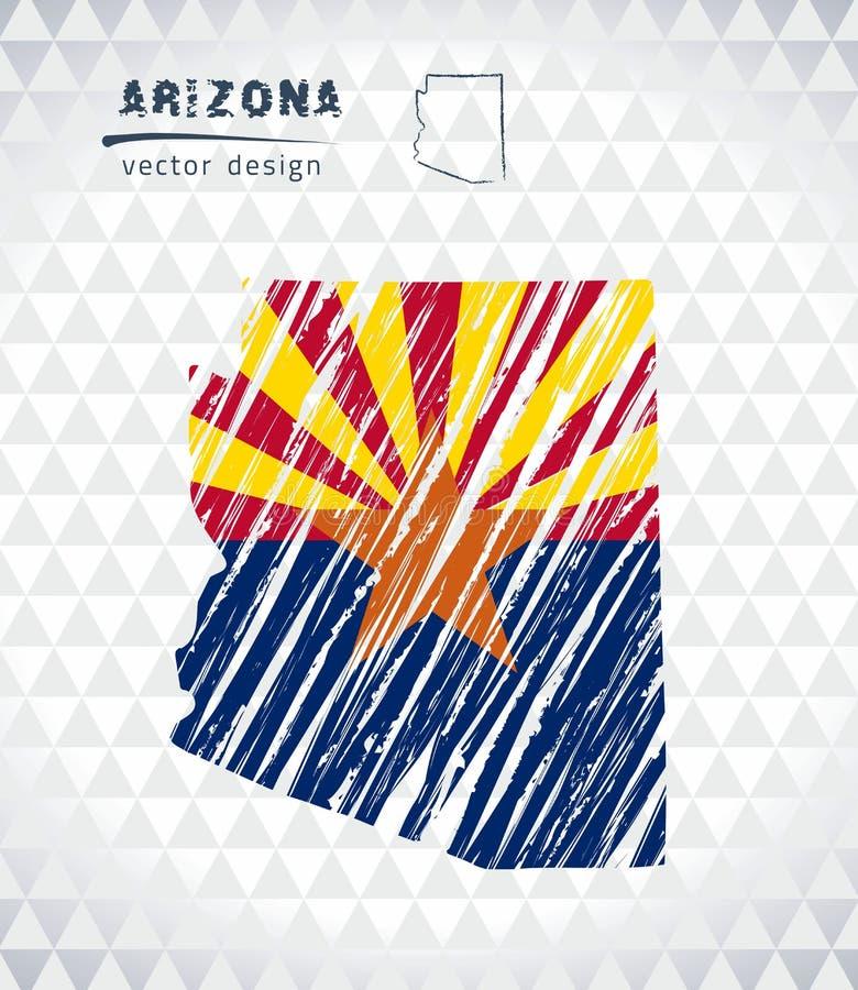 Mappa di vettore dell'Arizona con l'interno della bandiera isolato su un fondo bianco Illustrazione disegnata a mano del gesso di illustrazione vettoriale