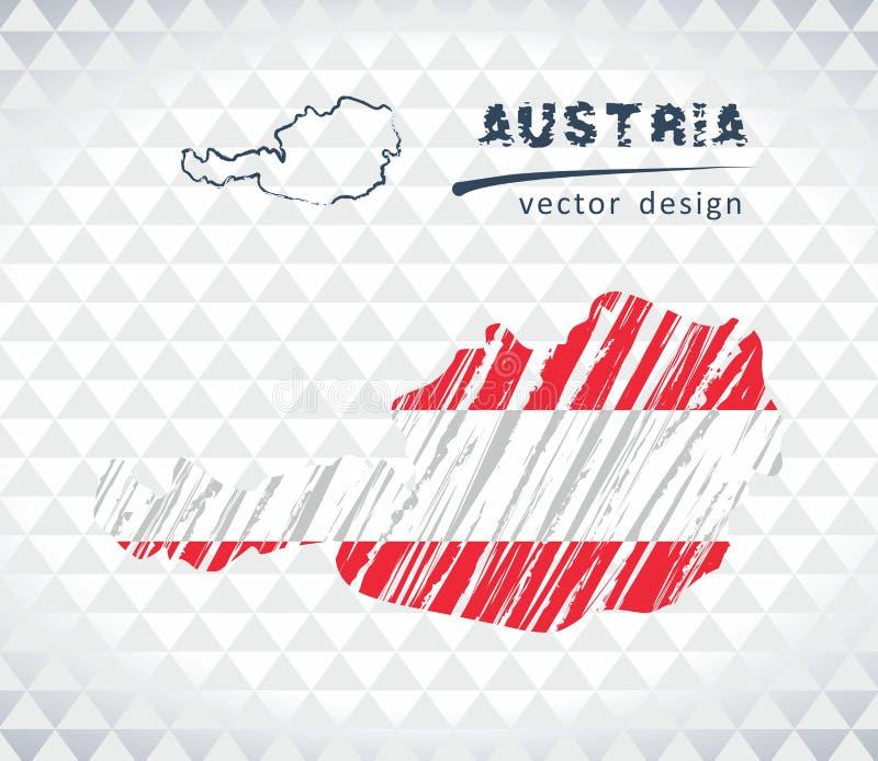 Mappa di vettore dell'Austria con l'interno della bandiera isolato su un fondo bianco Illustrazione disegnata a mano del gesso di illustrazione vettoriale