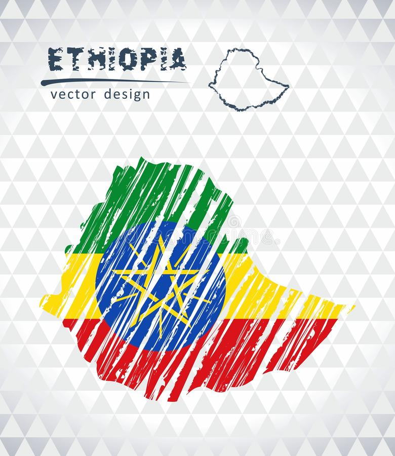 Mappa di vettore dell'Etiopia con l'interno della bandiera isolato su un fondo bianco Illustrazione disegnata a mano del gesso di illustrazione di stock