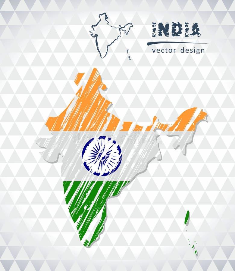 Mappa di vettore dell'India con l'interno della bandiera isolato su un fondo bianco Illustrazione disegnata a mano del gesso di s royalty illustrazione gratis