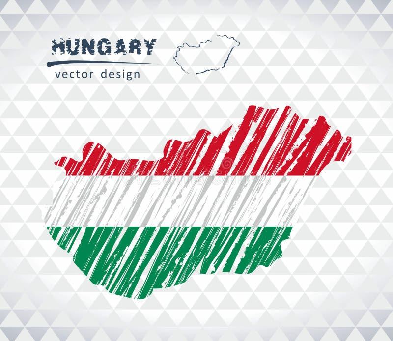 Mappa di vettore dell'Ungheria con l'interno della bandiera isolato su un fondo bianco Illustrazione disegnata a mano del gesso d royalty illustrazione gratis