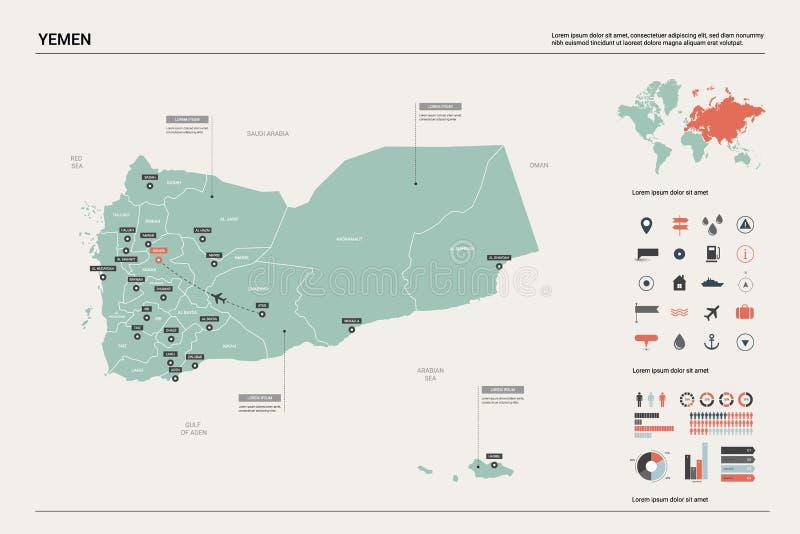 Mappa di vettore dell'Yemen Alta mappa dettagliata del paese con divisione, le città e la capitale Sanaa Mappa politica, mappa di royalty illustrazione gratis