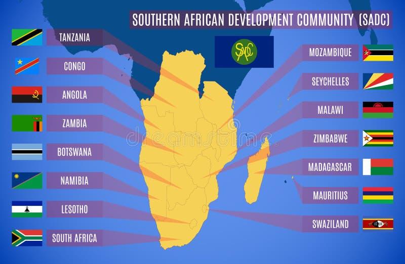 Mappa di vettore della comunità di sviluppo dell'Africa australe illustrazione vettoriale
