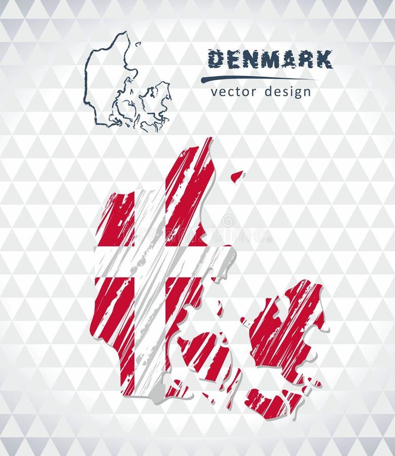 Mappa di vettore della Danimarca con l'interno della bandiera isolato su un fondo bianco Illustrazione disegnata a mano del gesso illustrazione di stock