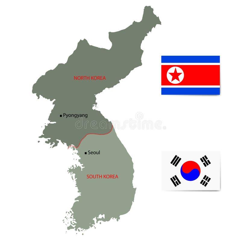 Mappa di vettore di Corea del Nord e del Sud con le bandiere illustrazione vettoriale